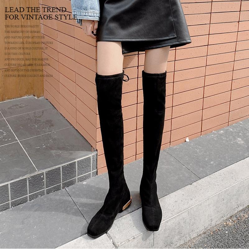 Длинные трубки более-колена сапоги женщины толстые металлические каблуки Botas тонкие ноги стрейч удобные носки Ботинес Femme назад шнуровке 2020