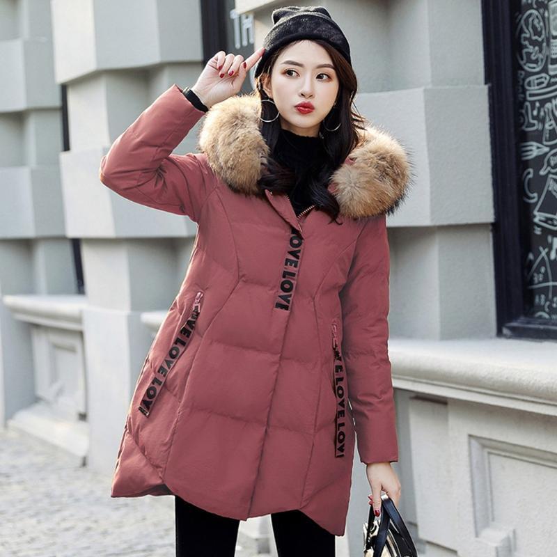 donne casuali del piumino coreano di modo delle donne inverno caldo Giacca in cotone con cappuccio inverno lungo maniche Cappotto # 4