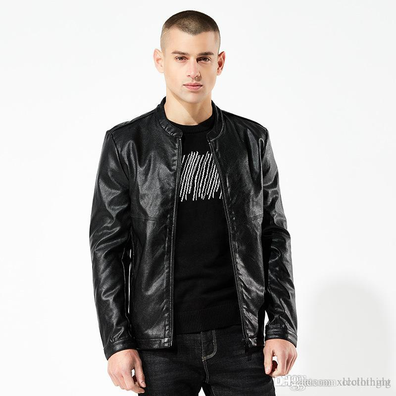 2019 spring and autumn new men's coat men's leather jacket short paragraph Slim Europe and America men's leather motorcycle j