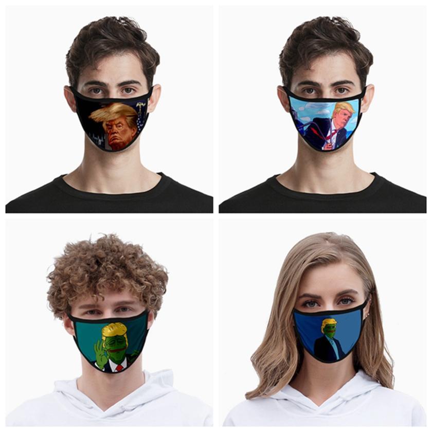 ترامب قناع الوجه الحرير الثلج القطن قناع الوجه أقنعة قابلة لإعادة الاستخدام قابل للغسل مكافحة الغبار واقية الفم مضحك الطباعة HHA1417