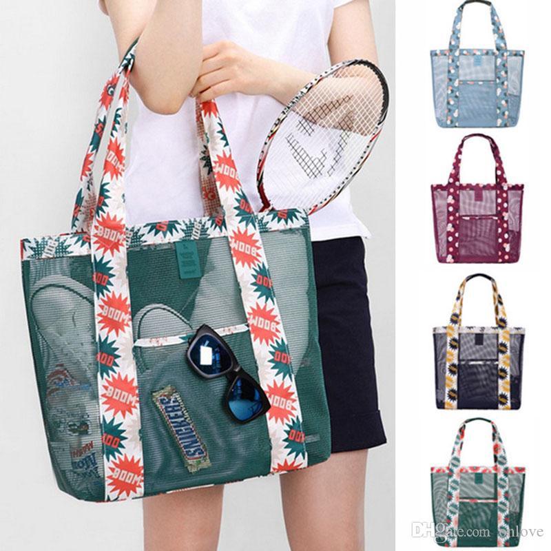 Manera de la playa Bolsas de hombro Mujeres Niñas traving Compras malla florales del almacenaje del bolso monedero de ultramarinos bolsas de mano Organizador XD22068