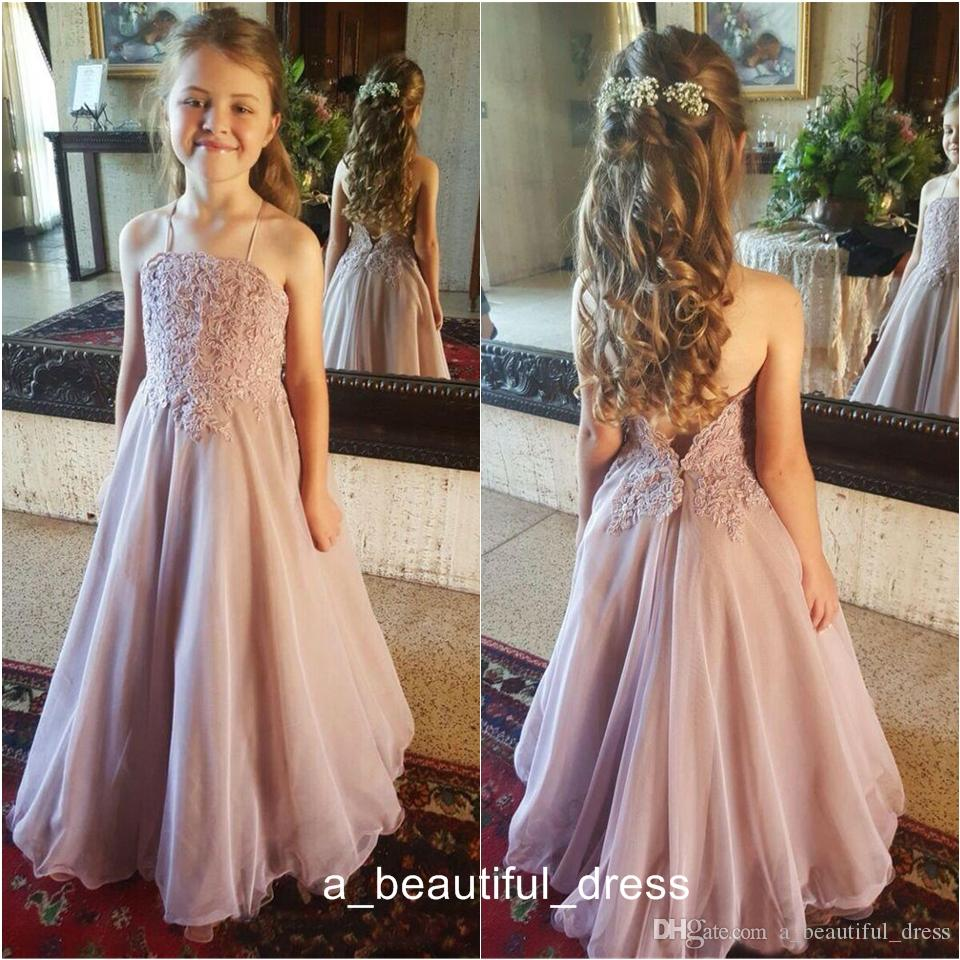 Dusty Pink Lace Flower Girl Dresses For Wedding Halter Backless Organza Floor Length Girls Pageant Gowns Kids Formal Party Dresses FG1320