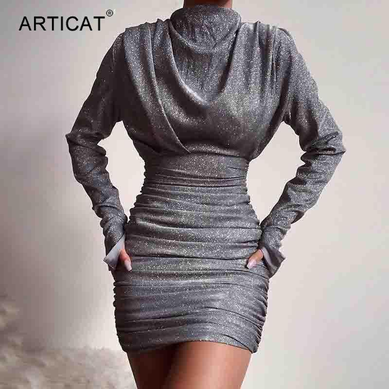 Articat Pırıltılı Gümüş Gri Turtleneck Elbise Kadınlar Uzun Kollu Pileli BODYCON Mini Elbise Bayanlar Kış Kulübü Partisi vestidos