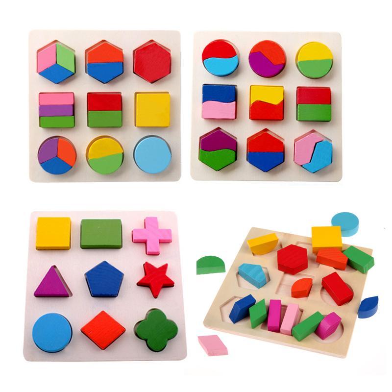 Crianças 3D Puzzle Brinquedos De Madeira Coloridos Forma Geometria Cognition Enigma De Madeira Crianças Aprendizagem Precoce Educacional Montessori Brinquedos