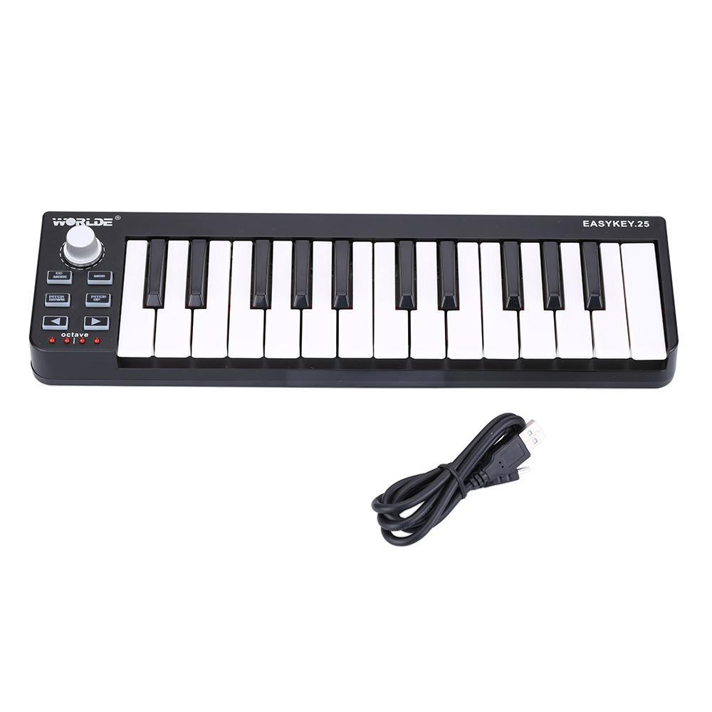 Taşınabilir MIDI Klavye Denetleyici Mini USB Klavye MIDI Kontrol MIDI Kontrolör Klavye Pedler Seçeneği 7 Stiller