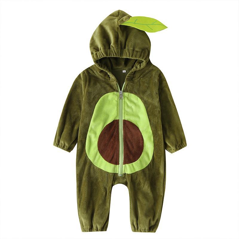 Baby Avocadio à capuche à capuche Hiver Hiver Warm Flanel Escalade Suit Vêtements de dessus Nouveau-né Jumpssuit Toddlers Body Body Pour Enfants Vêtements M958