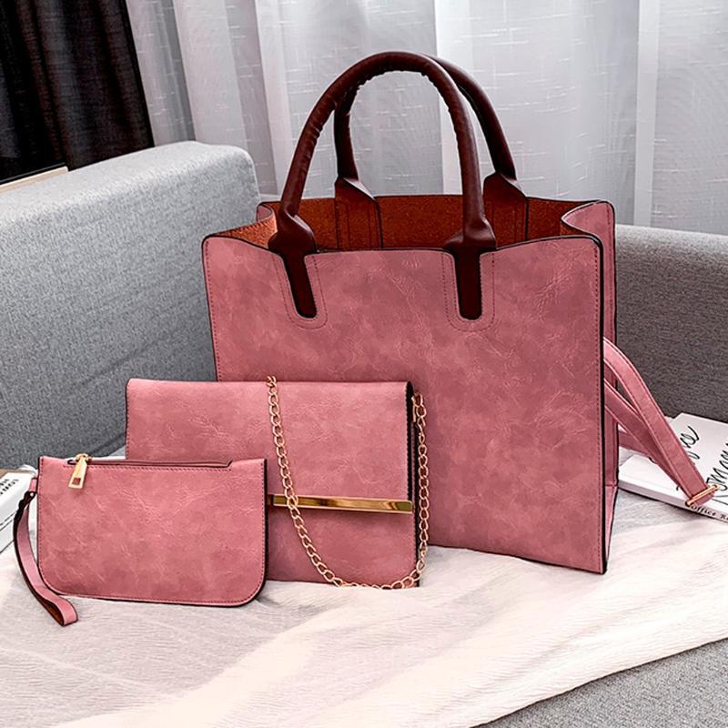 Pelle 3PCS Ladies Handbag Set PU modo delle signore borsa solido alle spalle Colore Messenger Bag Portafoglio 2020
