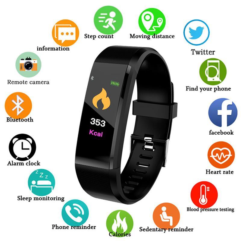 115 Bluetooth plus intelligent Montre de fréquence cardiaque Fitness Tracker intelligent Montre-bracelet étanche Passometer sport intelligent Bracelet pour Android iPhone