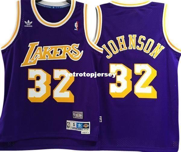JOHNSON # 32 Dikili yüksek kalite Retro Mor Vintage En JERSEY Erkek Yelek Boyutu XS-6XL Dikişli basketbol Formaları Ncaa
