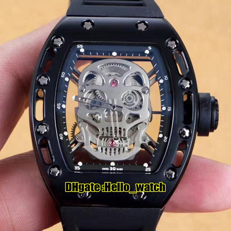 New RM052 Skeleton Silver Skull Head Dial Miyota Automatic Mens Watch PVD All Black Steel Case 052 Rubber Strap Sport Watches High Quality