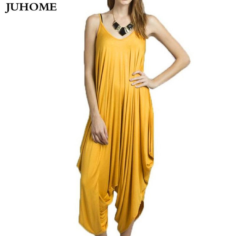 Plus Size Sleeveless Loose Sexy Party Rompers Women Jumpsuit Summer Playsuits Elegant Casual Runway Yellow Harem Pants Jumpsuit Y19060501
