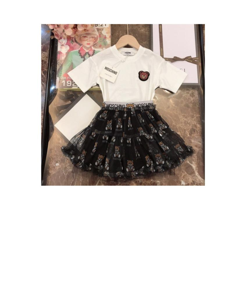Из двух частей наряды высокое качество повседневная мода Письмо печати мягкий короткий рукав футболки половина юбка костюм 030909