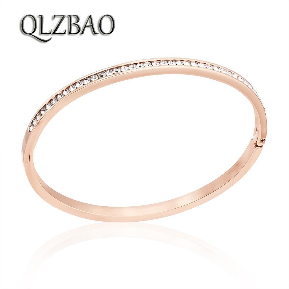 QLZBAO Or Bracelet Femme Cristal Bijoux En Acier Inoxydable Manchette Bracelets Pour Femmes De Charme Zircon Bracelets En Gros