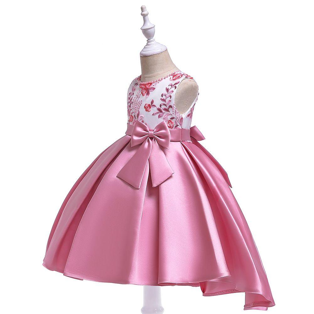 2019 New Jewel Neck Pink Flower Girl Dresses Hi-Low Lace Applique Vestidos da menina de flor para o casamento com pérolas Vestidos de festa para meninas