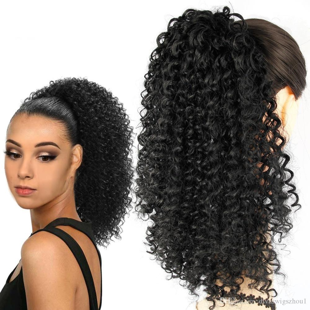 Kinky Curly Ponytail Extension Drawstring Ponytail Extensions Long Black Color 140g Human Hair Magic Paste Ponytail Hair Piece For Women Hair Ponies And Wraps Cute Ponytails For Long Hair From Divaswigszhou1 45 27