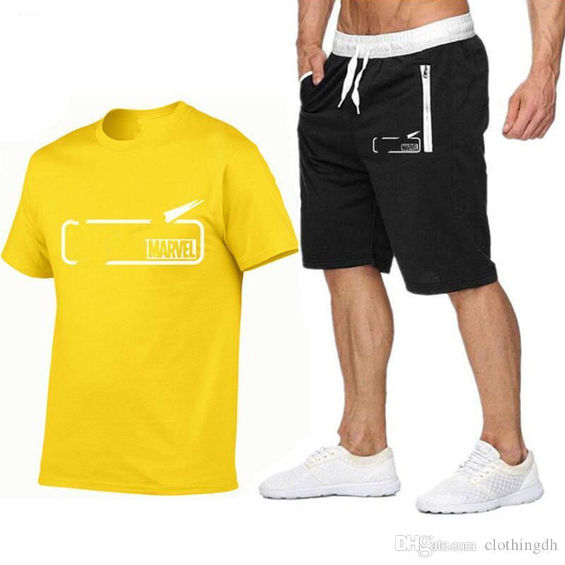 العلامة التجارية الرجال التي شيرت + السراويل مجموعة الصيف كم قصير رياضية الجمنازيوم عارضة ذكر T قميص 2 قطعة العلامة التجارية الملابس حجم S-2XL
