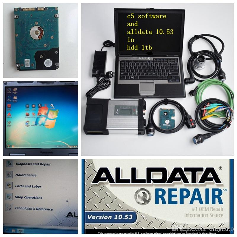 2020 super mb star c5 and alldata 10.53 soft-ware in hdd 1tb with laptop D630 star diagnose for 12v 24v ready to work