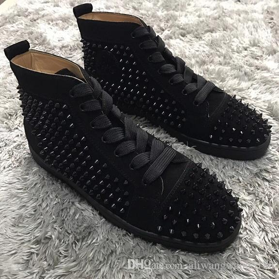 2019 new black suede Women Men High Top Man Sneakers Flat Red Bottom Spikes leather Casual Shoes Luxury Style Studs Red Sole Casual