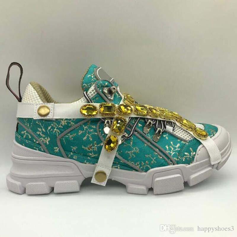 FlashTrek Обувь с Съемные кристаллами Mens Sneaker моды Женская обувь Повседневная кроссовки кроссовки Размер 35-45 LL1