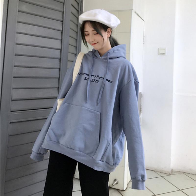 2019 primavera y otoño nuevo estilo unicornio con capucha holgado adelgaza Impreso Thin-Pereza estilo versátil con capucha vestido de las mujeres