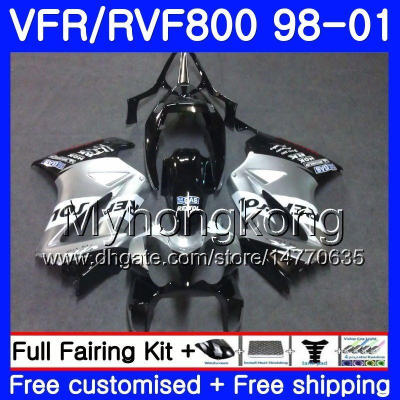 본체 혼다 인터셉터 용 VFR800R VFR800 1998 1999 2000 2001 259HM.43 VFR 800RR VFR 800 RR 렙솔 실버 VFR800RR 98 99 00 01 페어링 키트