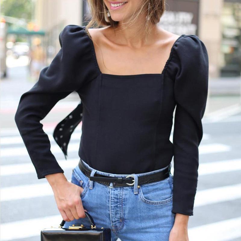 Womens Tops Blusas Feminino shirt sólida Collar Praça manga Puff Preto Top manga comprida coreano camisa das mulheres Streetwear Harajuku