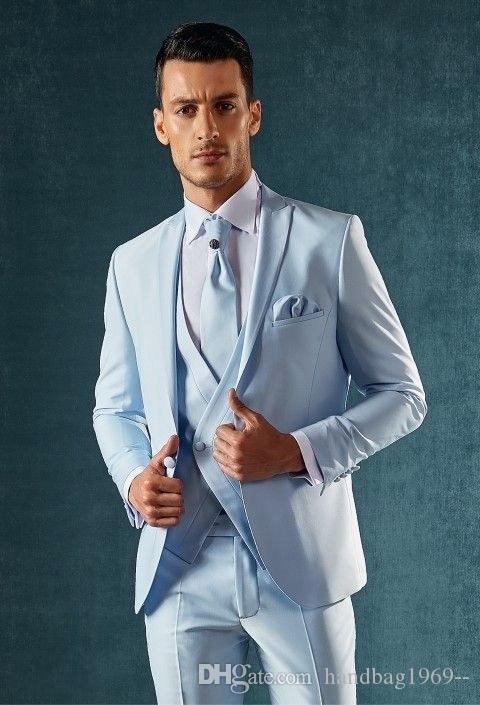 Высокое Качество Одна Кнопка Светло-Синий Жених Смокинги Пик Нагрудные Женихи Лучший Человек Мужские Свадебные Костюмы (Куртка + Брюки + Жилет+Галстук) D:185