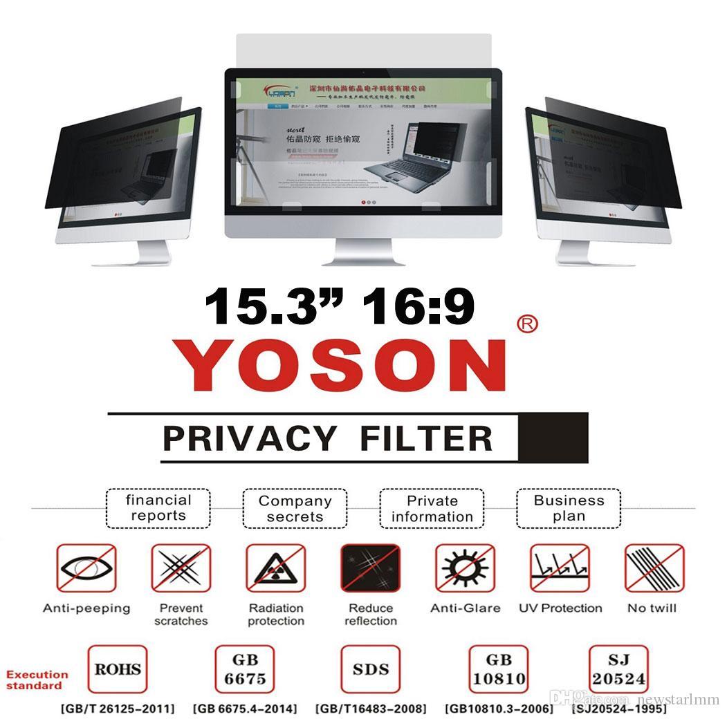 """15.3 """"Geniş Ekran Masaüstü Monitörleri için Gizlilik Filtresi Anti Peep Film Ekran Koruyucuları 16: 9 Oranı"""