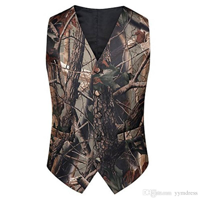 2021 Fashion Camo Vests For Wedding Prom Groom Attire Camouflage Slim Fit Mens Waistcoat Dresses Hunter Rustic Bestman Father And Son