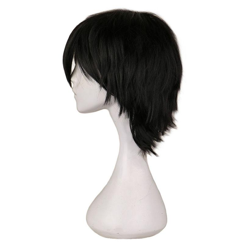 qqxcaiw black white purple red short cosplay wig male party 30 cm high temperature fiber synthetic hair wigs