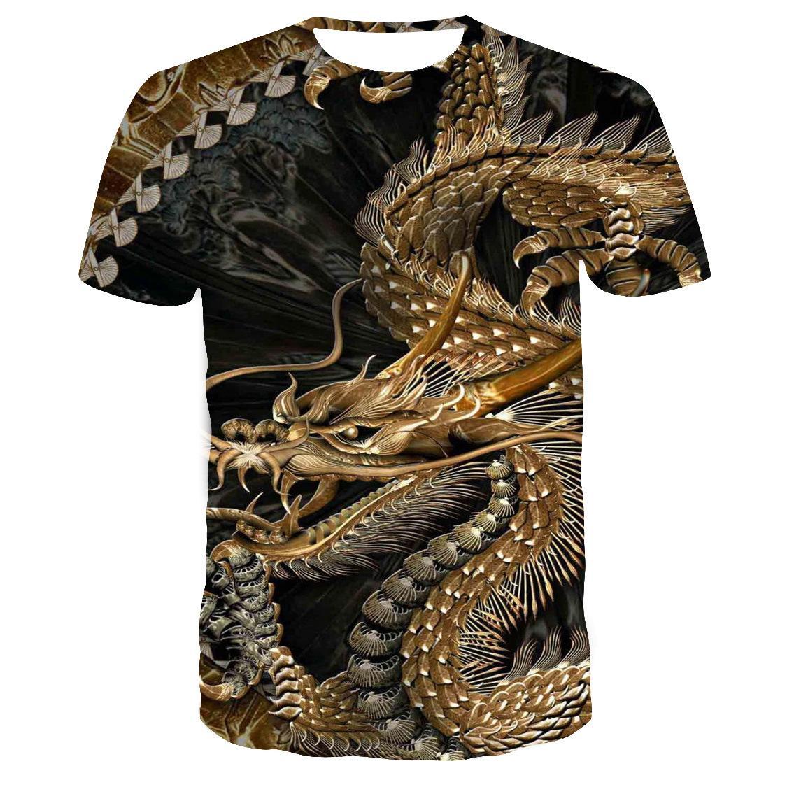 2020 yeni 3d ejderha deseni tişört kadın ve erkek aynı boyutta çift büyük boy kısa kollu elastik gündelik tişört bedeni 110-6XL