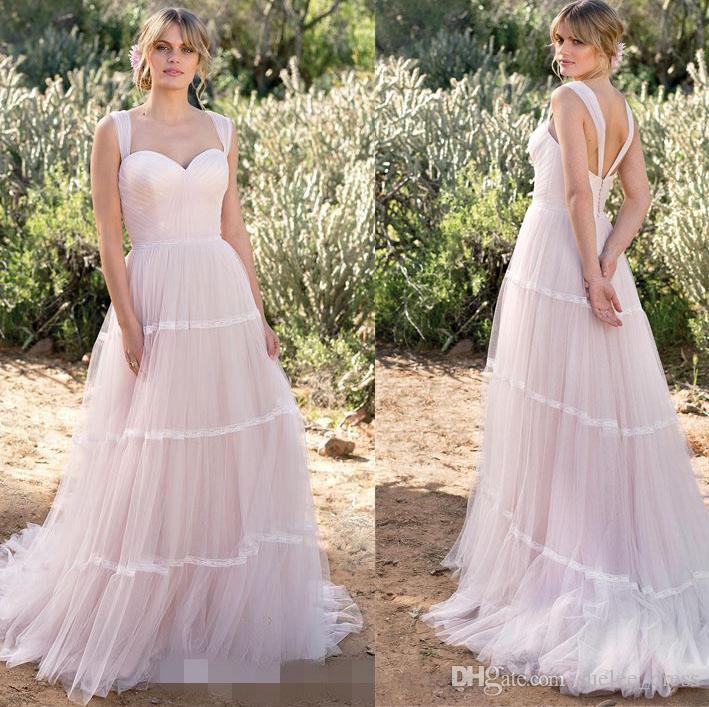 2020 Boho Abiti da sposa A Line cinghie increspato Tulle Pizzo Patchwork sweep treno Paese abito da sposa su ordine vestido de novia