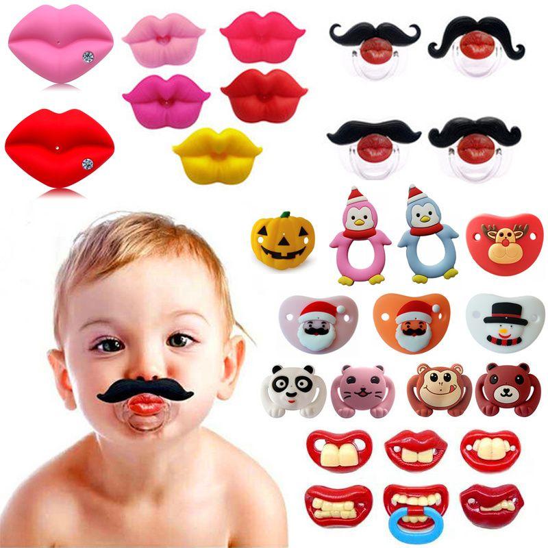 Cute Funny Dummies chupeta novidade maternidade Bebê Criança dentição bocais engraçadas Lip Chupetas