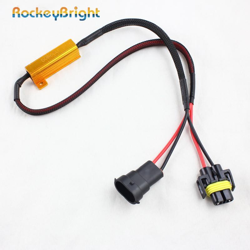 Rockeybright 50w bulbo 6ohm H8 H9 H11 LED HID nevoeiro Canbus Canceller cintilação Decoder resistor de carga sem erro Fio