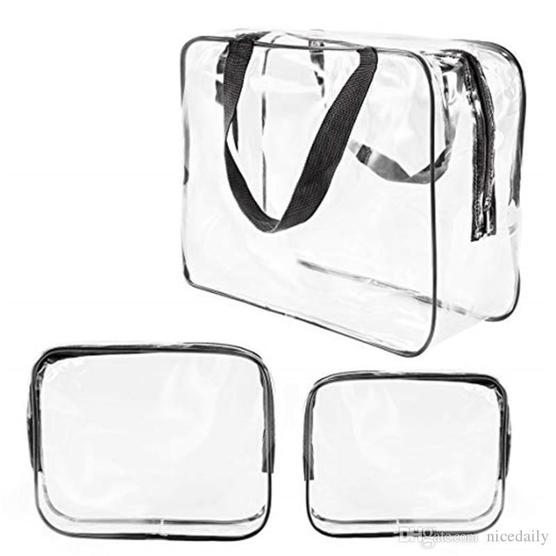 PVC trasparente impermeabili borse da viaggio Organizer trucco libero sacchetti sacchetto Estetista Beauty Case da toilette Storage Bag Diaper Pencil Pouch Wash