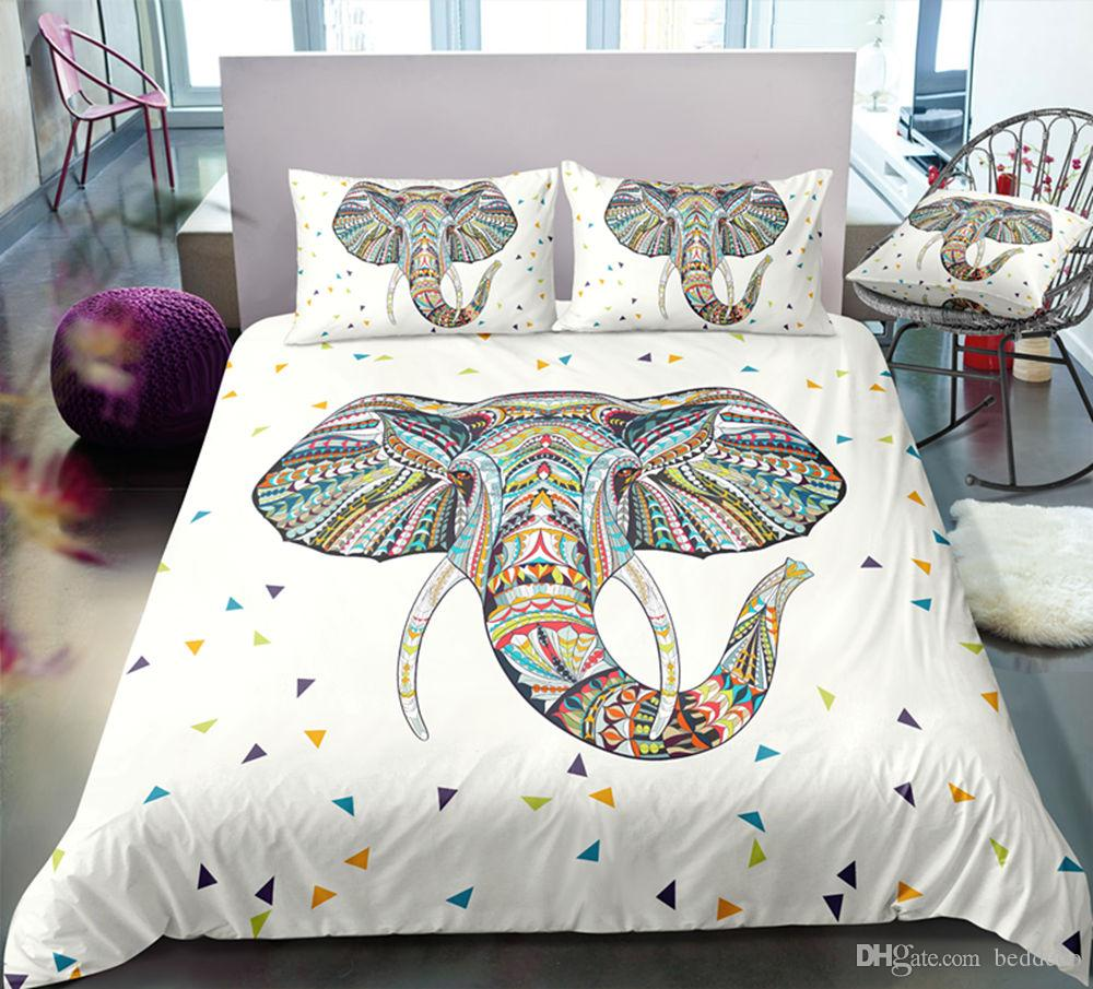 Ethnic Animal Bedding Set King Size Elephant Print Lifelike Duvet Cover Queen Tribal Twin Full Single Double Bed Cover with Pillowcase 3pcs