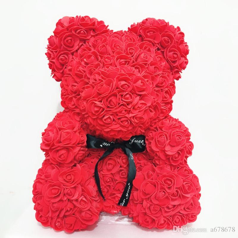 25cm Foam Bär Of Roses Bär Rose Blumen Künstliche New Year Geschenke für Frauen Valentines Geschenk