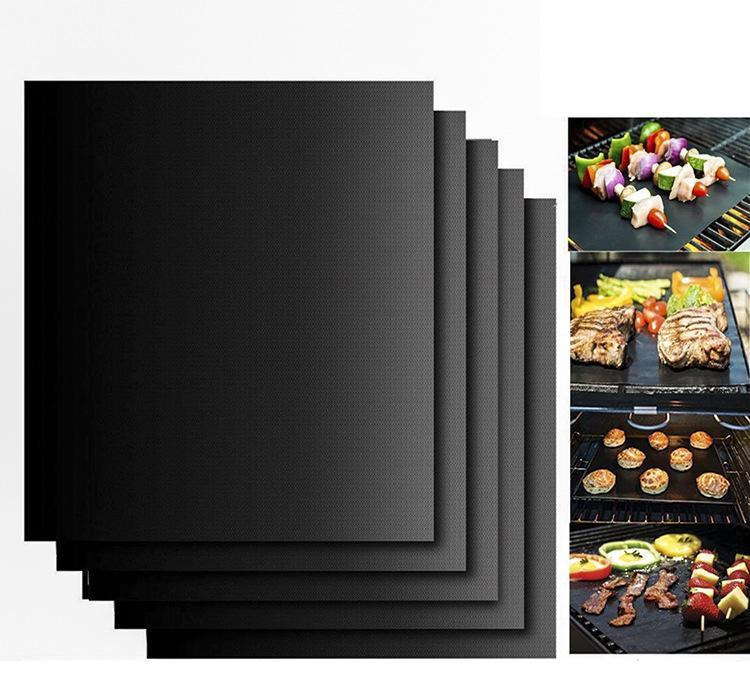 바베큐 굽고 바베큐 그릴 매트 휴대용 비 스틱 및 재사용 만들기 굽고 쉬운 33 * 40 CM, 0.2 MM 블랙 오븐 핫 플레이트 매트