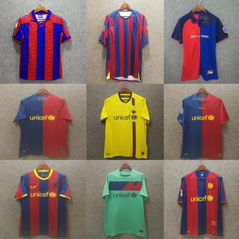 Retro camiseta de fútbol Barcelona 96 97 número 100 07 08 09 10 11 XAVI RONALDINHO RONALDO RIVALDO GUARDIOLA Iniesta PUYOL MESSI barca maillot de pie