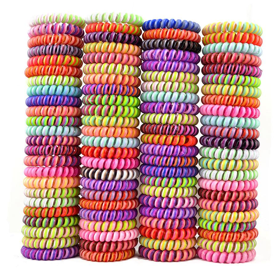 Telephone Wire Cord Gum Hair Tie Girls Elastic Hair Band Ring Rope Candy Color Bracelet Stretchy Scrunchy LJJA2700