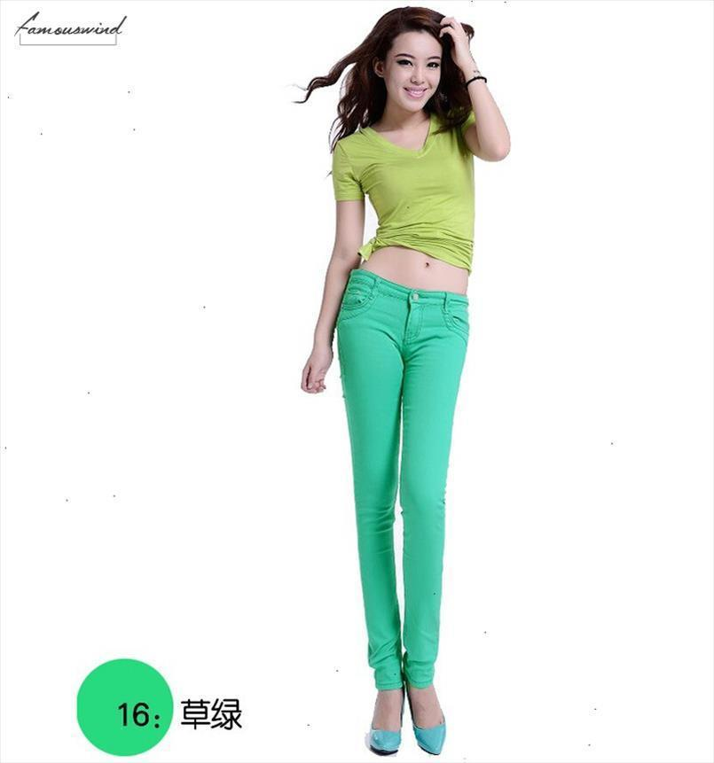 Vita alta jeans delle donne di autunno di stile Fashion Casual matita della caramella di colore Legging pantaloni scarni Pantaloni jeans donna pantaloni della matita calda Nuovi