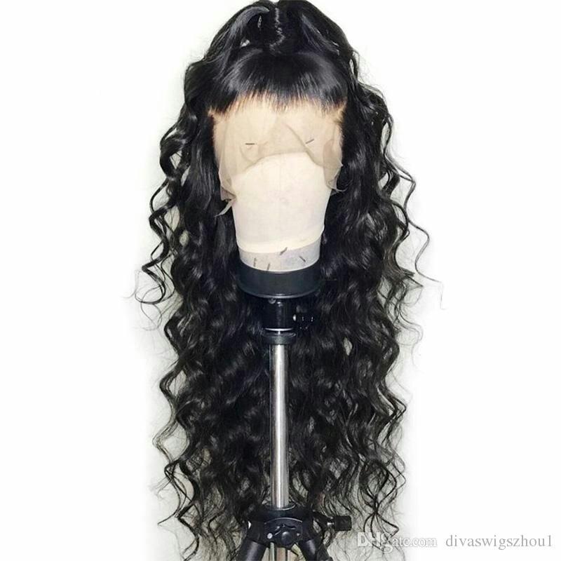 360 Cordón Onda Frontal Pelucas de Cabello Humano 130% Densidad Peluca de Onda Suelta Brasileña con Pelo de Bebé para Mujeres Negras Color Natural 14 pulgadas