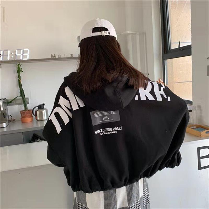 Толстовка женщины топы куртка BF стиль женский повседневная толстовка осень с длинным рукавом уличная одежда Oversize корейский Ulzzang Kawaii пальто T200407
