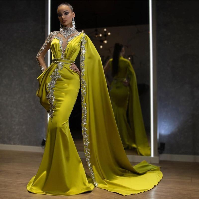 Luxus hoher Ansatz-Nixe-Abend-Kleider mit Sheer Ausschnitt Langarm-wulstige Abendkleid Satin robe de Soiree formale Partei-Kleider