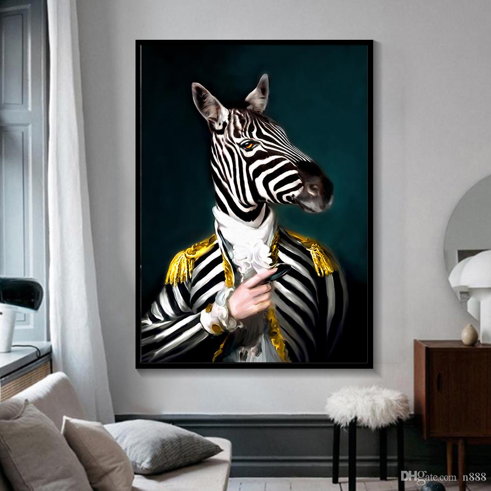 Black and White Classy Lion Tiger Elephant Giraffe Art Wolf Horse Wall Art Paintings On Canvas Animal Wearing a Hat-10 Large Painting 191003