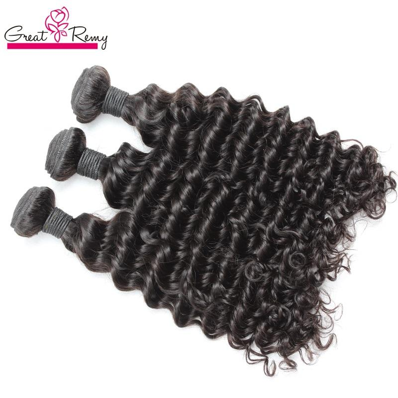 Greatremy® 3-4pcs/lot Brazilian Peruvian Malaysian Indian Hair Weft Weave 100% 8A Unprocessed Virgin Hair Bundles Deep Wave HairExtensions
