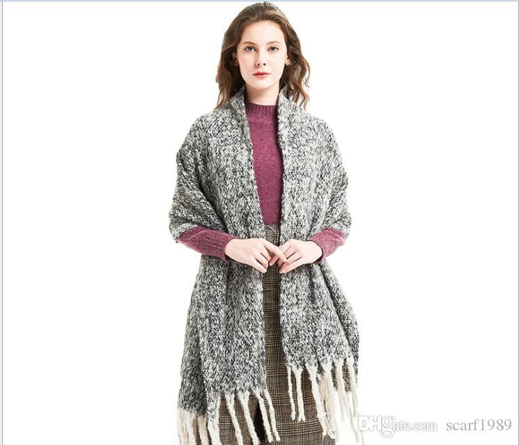 Otoño e invierno arena redonda franja gruesa clip flor hechizo color bufanda chal gruesa trenza engrosada tonglu bufanda 220 cm