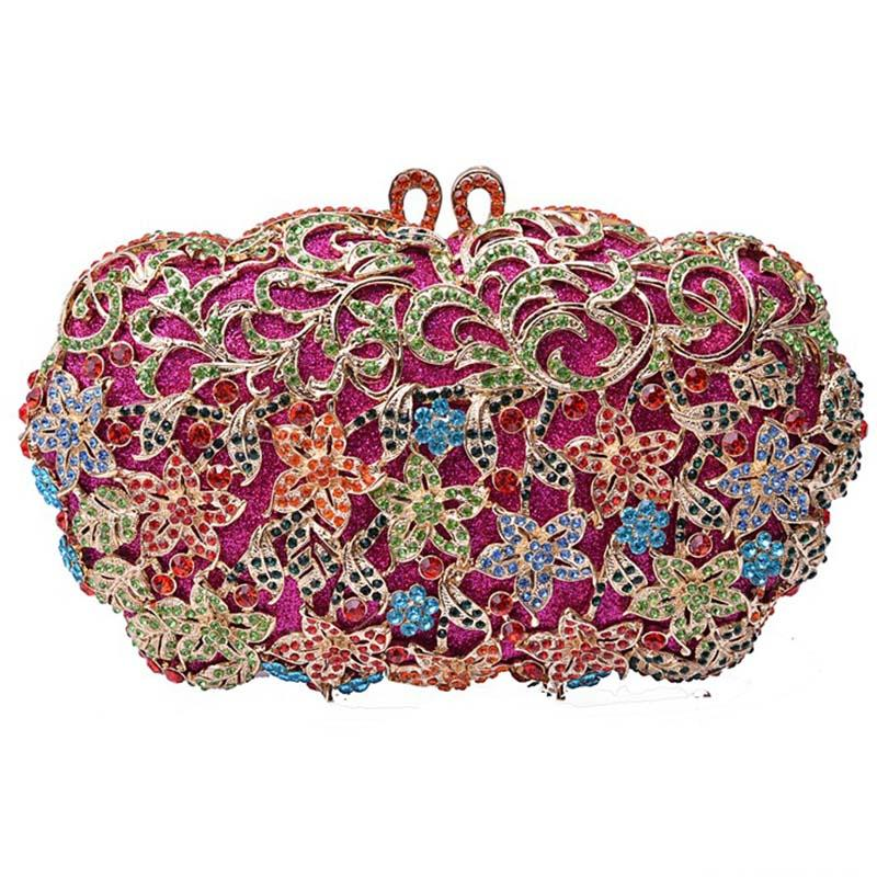Designer-Small Flower Pattern Colourful Diamond Crystal Evening Bag Metal Hollow Out Women Clutch Party Purse Handmade Lady Handbag