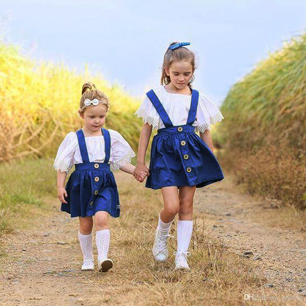 Estate del bambino dei capretti del merletto della ragazza increspato maglietta pannello esterno della bretella 2PC vestiti Outfits Dropship vestiti del bambino