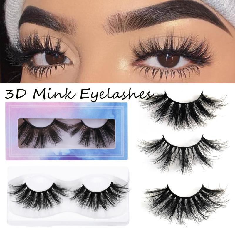 1pair 3D Mink cheveux Faux cils Wispies Fluffy Multicouches Sillonnez Lashes main réutilisables Styles mixtes Maquillage des yeux Outil